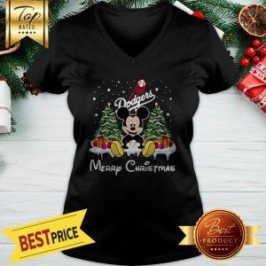 Funny Mickey Los Angeles Dodgers Merry Christmas V-neck