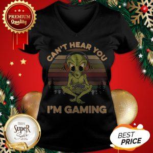 Official Alien Can't Hear You I'm Gaming Vintage V-neck