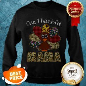 Premium One Thankful Mama Happy Thanksgiving Turkey Sweatshirt