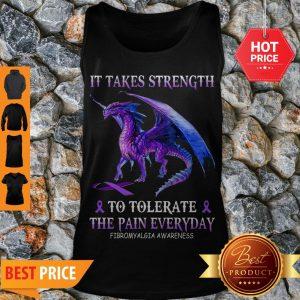 Purple Dragon It Takes Strength To Tolerate The Pain Everyday Fibromyalgia Awareness Tank Top