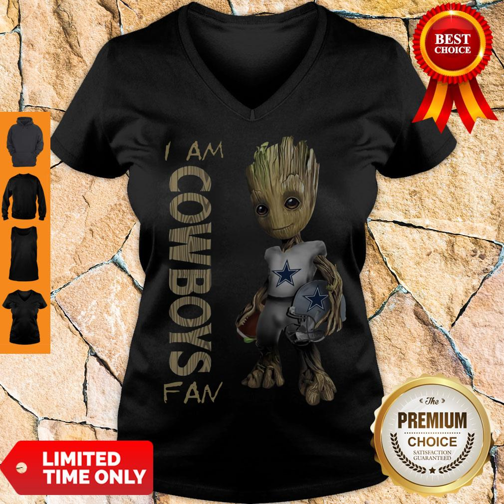 Official Baby Groot I Am Dallas Cowboys V-neck