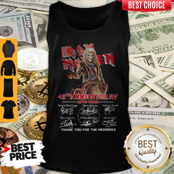 Iron Maiden 45th Anniversary 1975 2020 Thank You For The Memories Signatures Tank Top