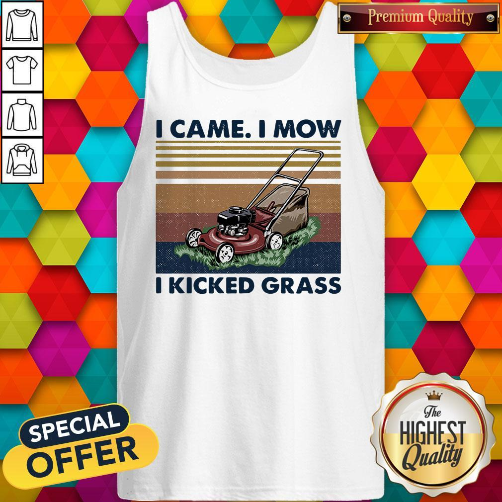 Lawn Mower I Came I Mow I Kicked Grass Vintage Tank Top