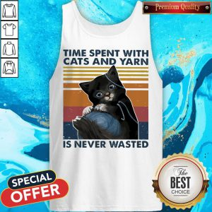 Black Cats Wool Roll Time Spent With And Yarn Is Never Wasted Vintage Tank Top