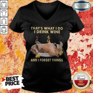 Cute Cat Thats What I Do I Drink Wine And I Forget Things V-neck