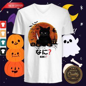 Pretty Nani Cat Killer Moon Halloween V-neck