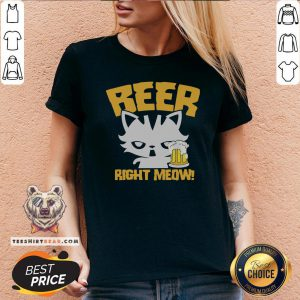 Awesome Beer Right Meow V-neck - Design By Teeshirtbear.com