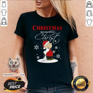 Official Snoopy And Charlie Brown Christmas Begins With Christ V-neck - Design By Teeshirtbear.com