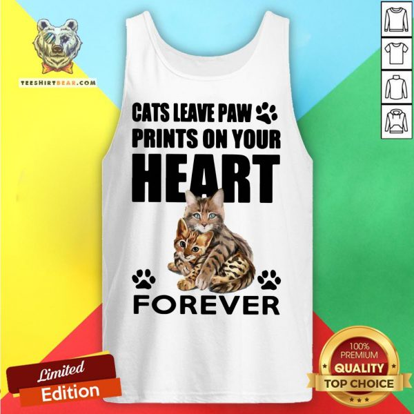 Pretty Cats Leave Paw Prints On Your Heart Forever Tank Top - Design By Teeshirtbear.com
