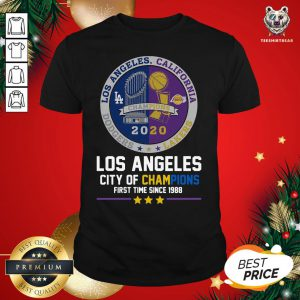 Top Los Angeles California Lakers Dodgers Los Angeles City Of Champions First Time Since 1988 Shirt - Design By Teeshirtbear.com