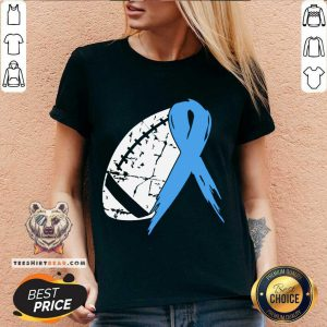 Football Tackle Prostate Cancer Awareness Light Blue Ribbon Warrior Support Survivor V-neck - Design By Teeshirtbear.com