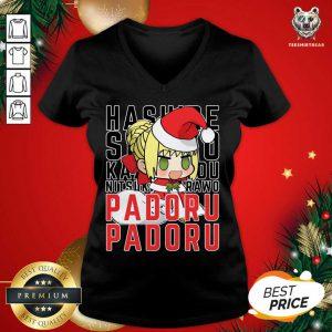 Saber Nero Christmas Padoru Padoru V-neck - Design By Teeshirtbear.com