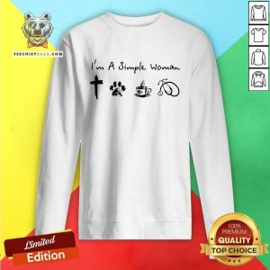 Pretty A Simple Womans Love Jesus Dog Coffee Stethoscope Sweatshirt