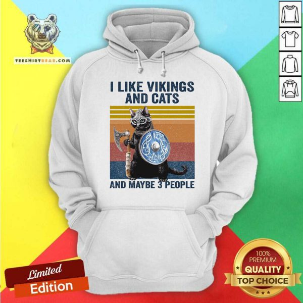 I Like Vikings And Cats And Mayybe 3 People Vintage Hoodie